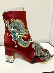 Women Embroidered Dragon Satin Ankle Boots Sz 7.5 New . Msrp 3475.00