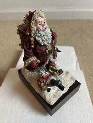 """House Of Lloyd Christmas Around The World Santa """"stepping Out"""" Music Box Rare"""