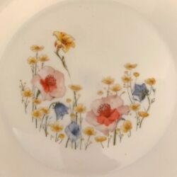 Arcopal Dishes Poppies Floral Milk Glass 12-piece Set For 4 - Plates And Bowls
