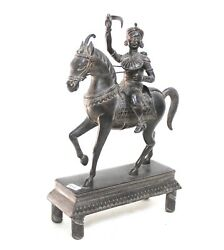 Horse Statue Ridding Queen War Beautiful Solid Brass Vintage India Us132bh