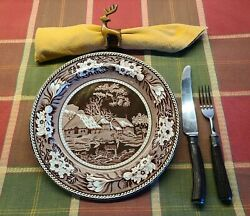 Set 4 Wedgwood Etruria Dinner Plates Fallow Deer 9.25 Inches 2 Sets For Sale