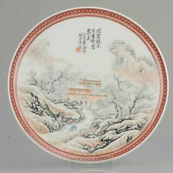 China 20th Century Winter Landscape Plate Chinese Porcelain Proc Period