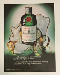 1974 Tanqueray Gin Print Ad Bottle A Fine Addition A Singular Experience