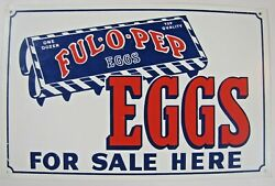 Ful O Pep Eggs For Sale Here Sign Ful-o-pep Farm Feed Seed Store Advertising