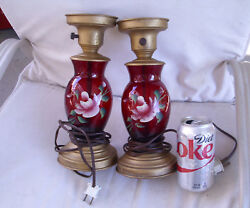 Vintage, Ca 1950hand Painted Pair Of Ruby Red Standing Table Lamps...working