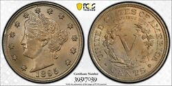 1895 Liberty V Nickel Pcgs Ms 64 And Cac Satiny Pale Gold Over Silvery Pewter