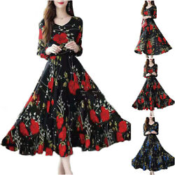 Women Long Sleeve Floral Casual Maxi Dress Evening Party Slim Swing Long Dresses $15.48