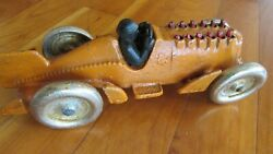 1930s Hubley Cast Iron Race Car Moving Flame Exhaust 10 Inches Long