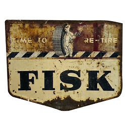 Vintage Fisk Tire Advertising Sign Embossed Steel 1940andrsquos