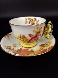 F/s English Royal Antiques Aynsley Butterfly Handle Flowercupandsaucer Mint