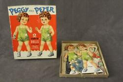 Vintage Toy Paper Dolls Peggy And Peter On Heavy Board 4112 Whitman Publishing