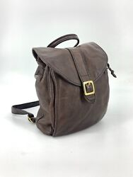 VTG Distressed Dark Brown Leather Flap Cinch Bucket Small Backpack Purse $59.99