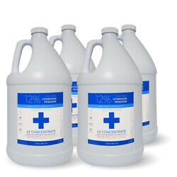 12 Food Grade Hydrogen Peroxide 4 Gallons - Free Same Day Or Next Day Shipping