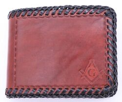 Masonic Hand Tooled Handcrafted Brown Leather Wallet Billfold Bi-fold New