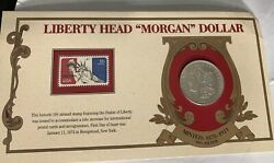 Vintage 1921 Morgan Silver Dollar Coin And Stamp
