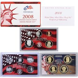 2008 S Proof Set Original Box And Coa 14 Coins 90 Silver Quarters Kennedy Us Mint