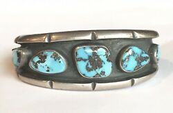Native American Indian Silver And Turquoise Cuff Bracelet Old Pawn Navajo Vintage