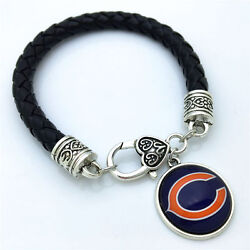Chicago Bears Leather Bracelet-special By The Costume Jewelry King