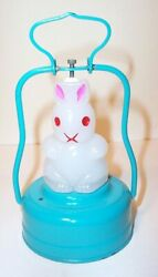 Mint 1950's Battery Operated Bunny Rabbit Lantern Frosted / Milk Glass Lamp
