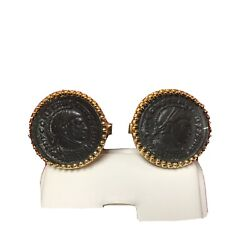 Ancient Coins Set In 18k Yellow Gold Cufflinks