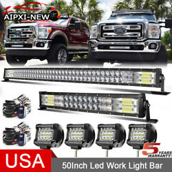 For 2004-2014 Ford F150 Roof 50 Inch 5d Curved Led Light Bar +20and039and039 +4and039and039 Pods Kit