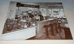 Antique Photograph Soda Fountain Early Penny Vending Machine 11 X 14