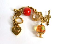 Juicy Couture Charm Bracelet W/ 3 Retired Charms W Htf Bitten Apple, Fish Bowl
