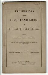 James Hutchison / Proceedings Of The Grand Lodge Of The Free And Accepted 1st Ed