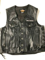 Leather Harley Davidson Vest - Large With Patches