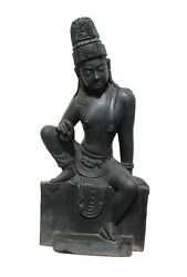 Buddha Statue Black Marble Statue Home Decor Carved Vintage Collectible Us19mh