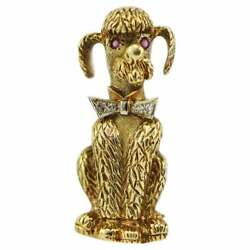 Vintage 14kt Yellow Gold Poodle Pin Pendant With Ruby Eyes And Diamond Bowtie