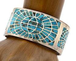 Navajo Bracelet .925 Silver Blue Arizona Turquoise Signed Wh C.80and039s