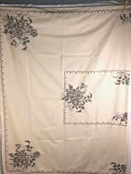 Cross Stitch Table Linens Lot Vintage Tan And Brown Napkins, Runner, Table Cloth