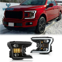 2pcs Front Full Led Headlights And Sequential Turn Signal For 2018-2020 Ford F150