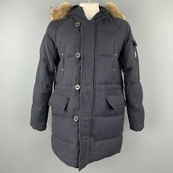 Moncler Size Xxl G32-003 Navy Quilted Wool Zip And Buttoned Hooded Parka Coat