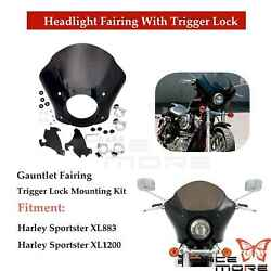 Gauntlet Headlight Fairing With Trigger-lock For Harley Sportster 883 1200 Iron