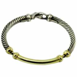 David Yurman 14 Karat Yellow Gold And Sterling Silver Cuff Cable Link Bracelet