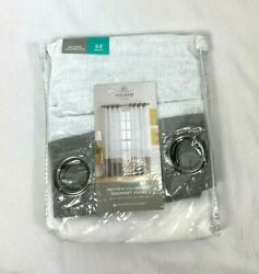 JCP Home Gray amp; White Bayview Colorblock Grommet Sheer Curtain Panel 50quot;x63quot;
