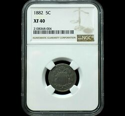 1882 Shield Nickelgraded Xf40 By Ngcfreshly Gradedonly 14 This Grade