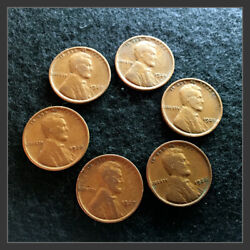 Consecutive Year 1924-1929 Wheat Pennies Lot Of 6 Great To Fill Your Coin Album