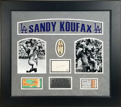 Sandy Koufax Signed Index Card Framed 1965 World Series Game 5 And 7 Tickets Psa