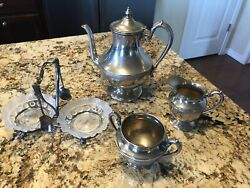 Vintage Silver Double-plated Tea/coffee Service And Rare Candy/nut Dish W/ Spoons