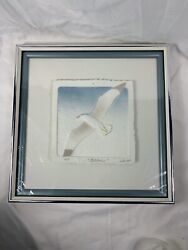 Wess Signed Numbered Coa Hand Cast Paper-colored Seagull Framed Beach A864