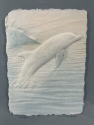 Wess Signed Numbered Coa Hand Cast Paper-colored Dolphin Framed Beach A865