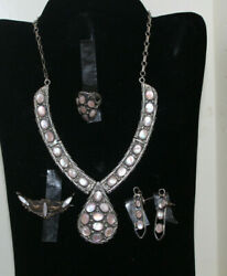 Great Jw Tom Navajo Native American Sterling 5 Pc Earrings Ring And Necklace Set