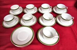 22 Pc. Raynaud Diplomat Green Tea Cup And Saucer Collection - Mint