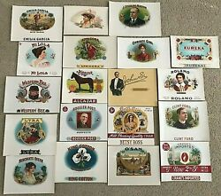 Lot Of 19 Nos Inner Graphic Cigar Box Labels Priced For Fast Sale Easy Opener