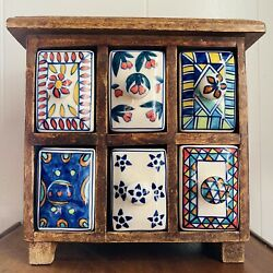 Vintage Wood Apothecary Spice Cabinet Chest 6 Hand-painted Porcelain Drawers