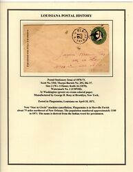 U84 Postal Entire Plaquemine LA w Star in Circle to New Orleans