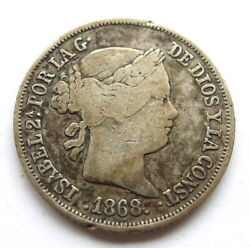 Spain 20 Centimos 1868, Isabel Ii, Vf Toned Some Colour, .810 Silver, Km625.1